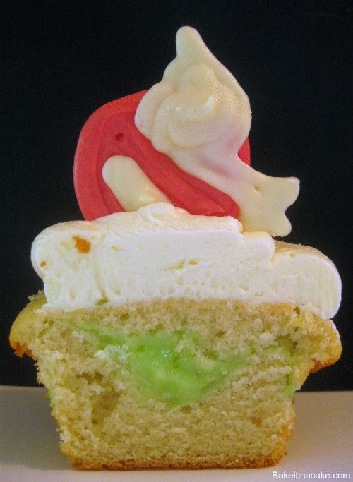 """Ghostbusters cup cake with key lime """"slime"""" middle"""