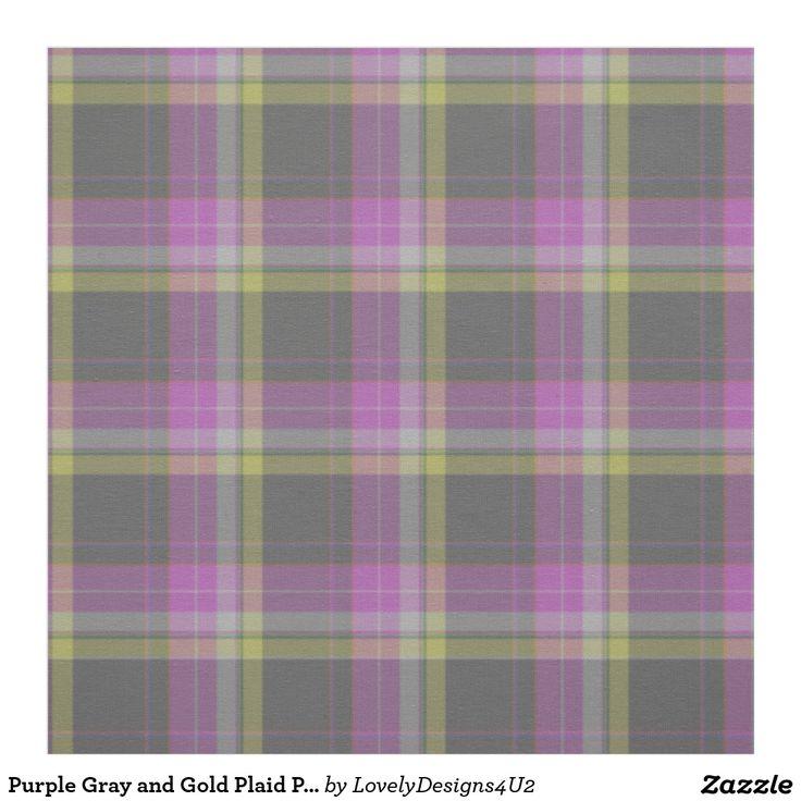 Purple Gray and Gold Plaid Pattern Fabric
