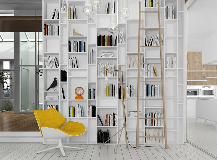 MDF Italia's famous Random Bookcase is the perfect centerpiece for an eclectic space.
