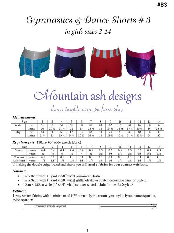 Gymnastics and dance shorts 3 pattern sewing pdf by tumblentwirl