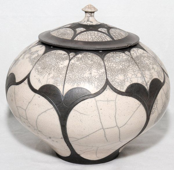"ANDY SMITH MARSHVILLE, NC RAKU STUDIO ART POTTERY COVERED JAR, 1985, H 8 1/2"", DIA 9 1/2"":Signed and dated on underside."