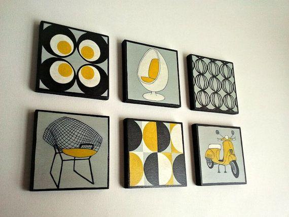 XL LARGE PAINTiNGS Vintage Geometric designs Set of 6 by Lunartics, €108.00