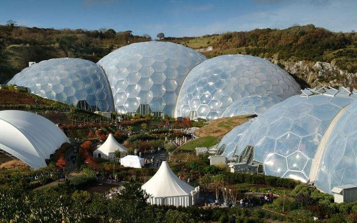 Britain's most charming conservatories Eden Project The biggest of them all. Between them, Eden's two biomes contain 5.5 acres of planting, and thousands of different plants.