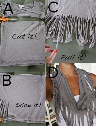Make your own scarf out of old t-shirts