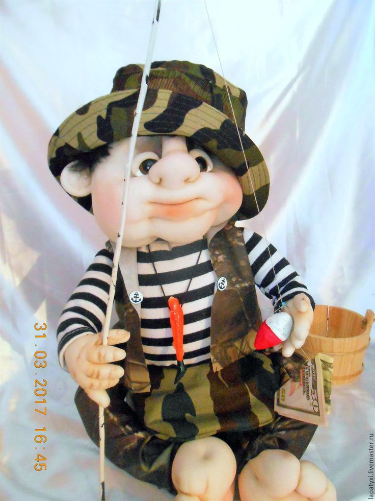 Купить Кукла мини бар Рыбак - кукла ручной работы, мини бар, ярко-зелёный