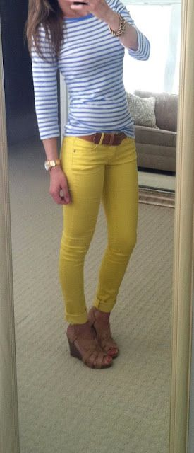 cute!: Colors Combos, Yellow Jeans, Colors Jeans, Yellow Pants, Cute Outfits, Charlotte Russe, Super Affordable, Outfits Ideas, Blue Stripes