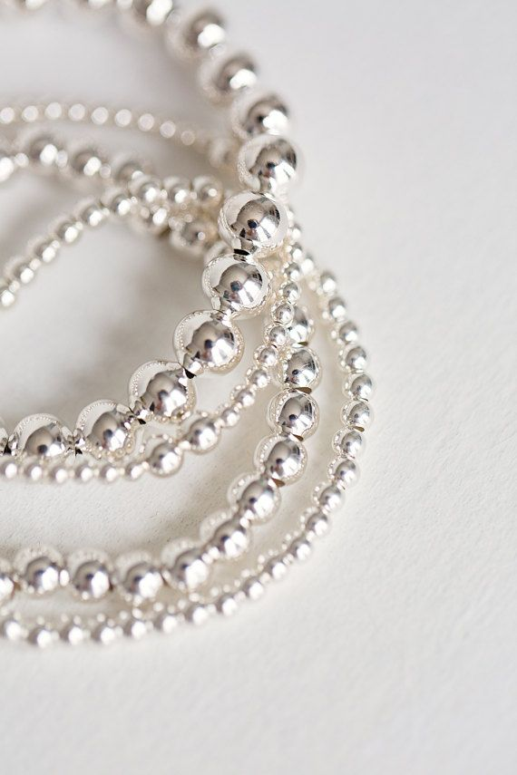 Sterling Silver ball bracelet  Sterling silver by Savijewelry