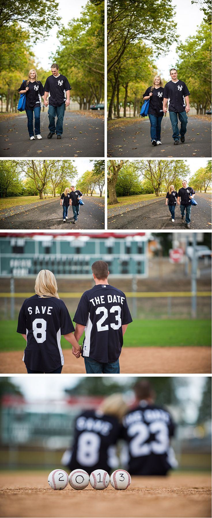 Baseball Theme Engagement shoot Idea,not a fan of the team on the jerseys but it would be cool if it was a Yankee vs red sox couple, i would totally take pictures like this for someone if they wanted them!