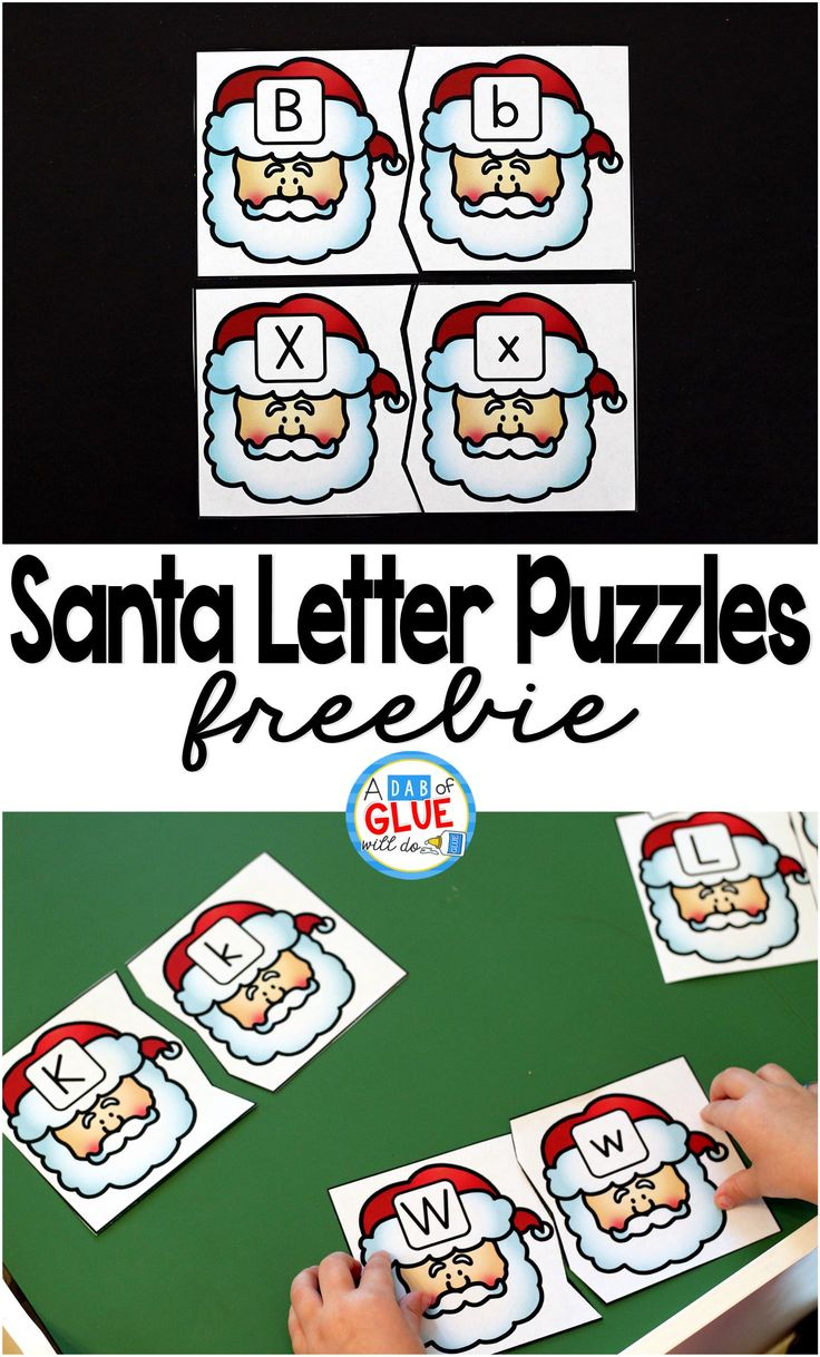 Santa Letter Puzzles is the perfect hands-on addition to literacy centers this Christmas and holiday season. This free printable is perfect for preschool and kindergarten students. via @dabofgluewilldo