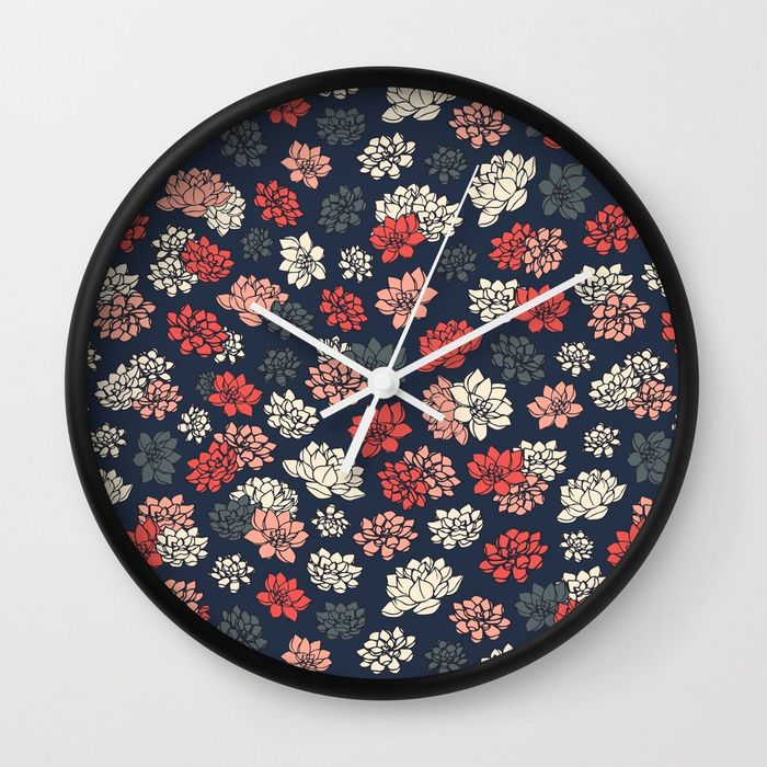 Water Lilies Pattern Wall Clock #faerieshop #tropical #floral #succulents #plants #lotus #pattern #water #lily #flowers #drawing #art #illustration #liles #retro #blossom #blue #ornament #shopping #society6 #home #decor #decoration #clocks #buy