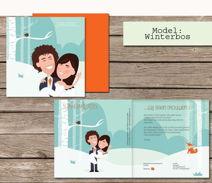 #custom # illustrated #wedding #invites  #trouwkaarten op maat #maatwerk #cartoon #tekening van jezelf nagetekend op een trouwkaart #winter