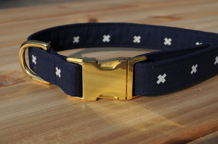 Nautical Dog Collar, Navy and White Pet Collar with Gold Metal Buckle, Male or Female by WalkintheBark on Etsy https://www.etsy.com/listing/212548261/nautical-dog-collar-navy-and-white-pet