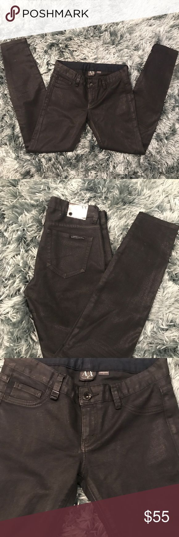 """Armani Exchange Coated Skinny Jeans NWOT AX Black Coated Skinny Jeans.  These coated skinny jeans are like mascara for your legs! Details  Faux front pockets  2 back pockets  Waist 14"""" Outseam 37.5"""" Inseam 29"""" Rise 7.5"""" Size 2 A/X Armani Exchange Jeans Skinny"""