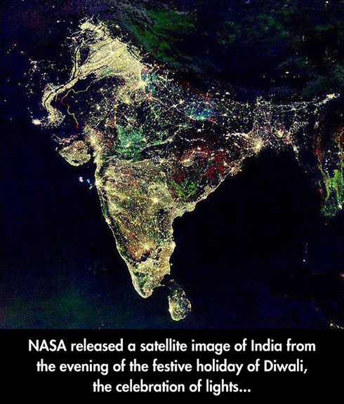 NASA satellite image of India on the evening of Diwali; gives a very clear idea of India's surprising population density!