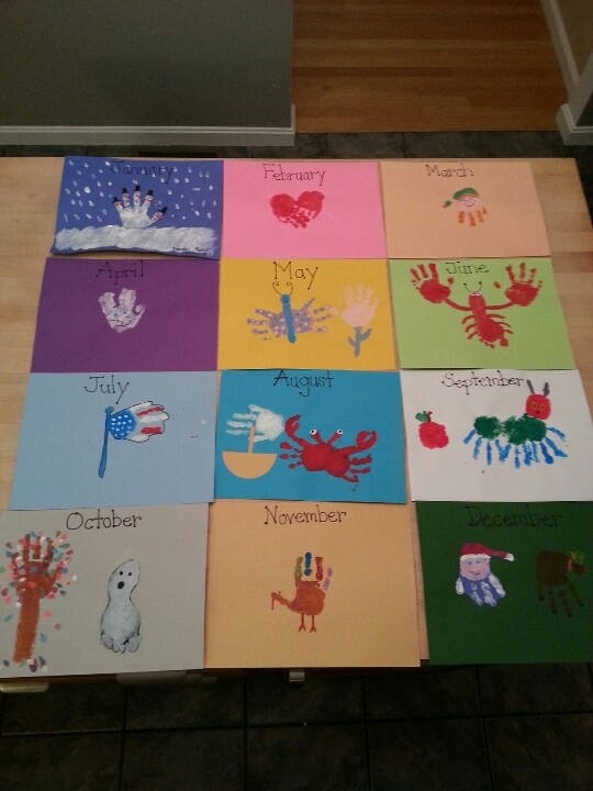 Originally created as a hand print calendar. Decided to use as the cover to our monthly photo and project books.