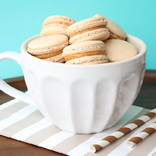 Crispy and chewing coffee macaron shells filled with an ...
