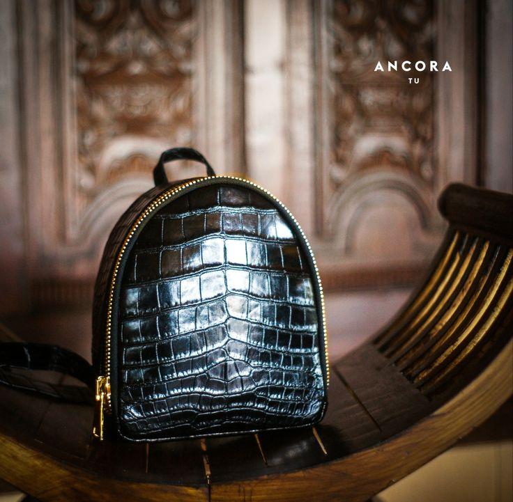Crocodile leather backpack. Black Leather  Backpack. Genuine Leather Backpack. Croco backpack. by StudioANTU on Etsy