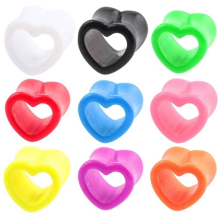 Pair Acrylic Heart Hollow Ear Tunnels Flesh Expander Gauges Plugs Earlets Earring Ear Piercing Body Jewelry