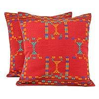 Cotton cushion covers, 'Sequences' (pair) - Cotton Red Cushion Covers Set 2 Throw Pillows #cushion #pillow #novica
