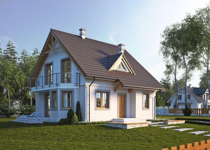 Dom jednorodzinny, parterowy z poddaszem użytkowym i jednostanowiskowym garażem. Więcej na: http://lk-projekt.pl/lkand658-produkt-731.html