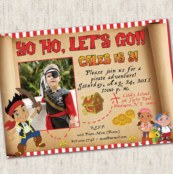 Jake and The Neverland Pirates Invitation - Custom Photo Printable Design on Etsy, $15.00