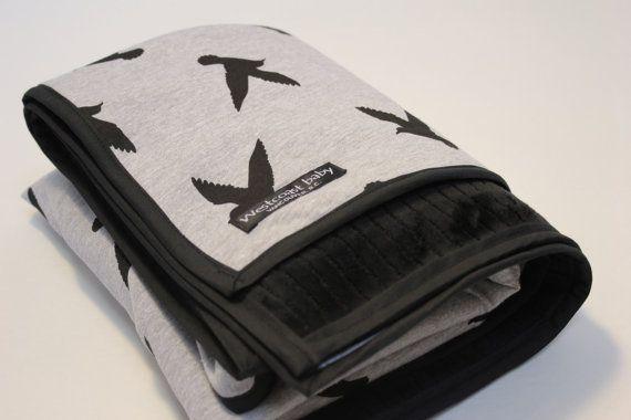 Grey and Black Bird Silhouette Minky Fur Blanket by Westcoastbaby