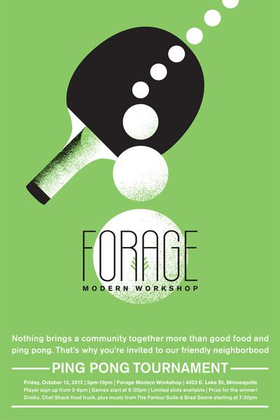 Awesome! @ForageModernWorkshop is having a ping pong tournament on October 12.