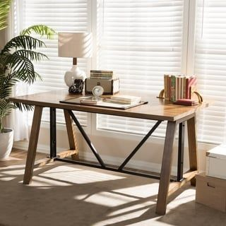 Shop for Rustic Industrial Metal and Wood Adjustable Desk by Baxton Studio. Get free shipping at Overstock.com - Your Online Furniture Outlet Store! Get 5% in rewards with Club O! - 24149522
