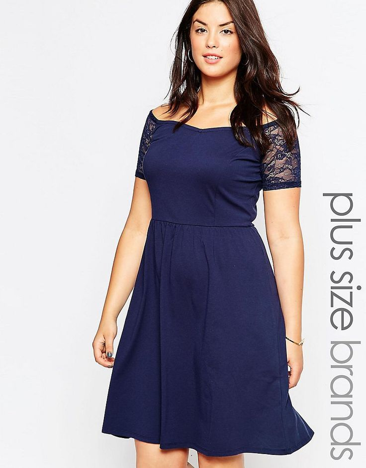 Junarose+Capped+Sleeve+Skater+Dress+With+Lace+Detail