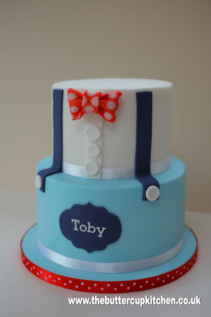 Two tier Boys cake with braces and bow tie - suitable for a birthday or Christening
