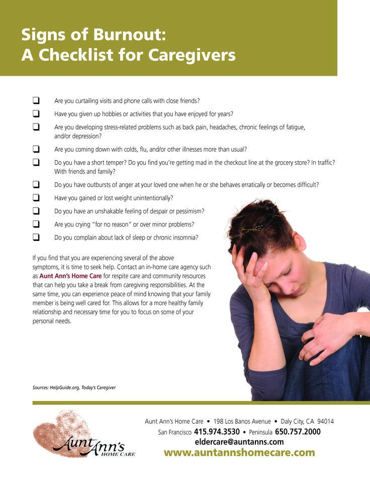 Signs of Caregiver Burnout  #checklist #tips #caregiving