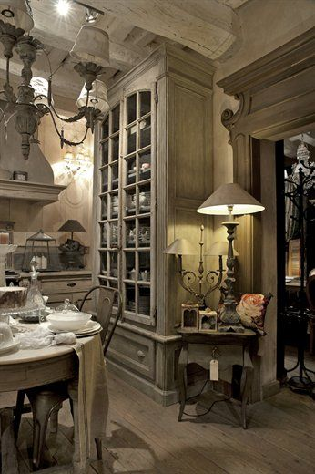 French chic. I really like these cabinets.