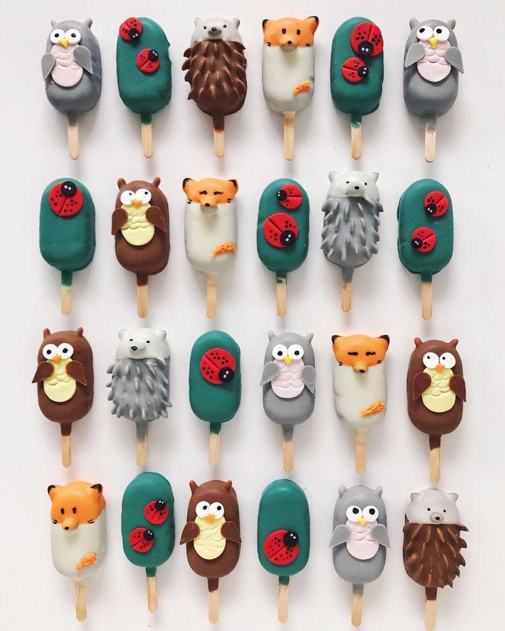 Woodland animal cake popsicles by R A Y R A Y (@rymondtn)