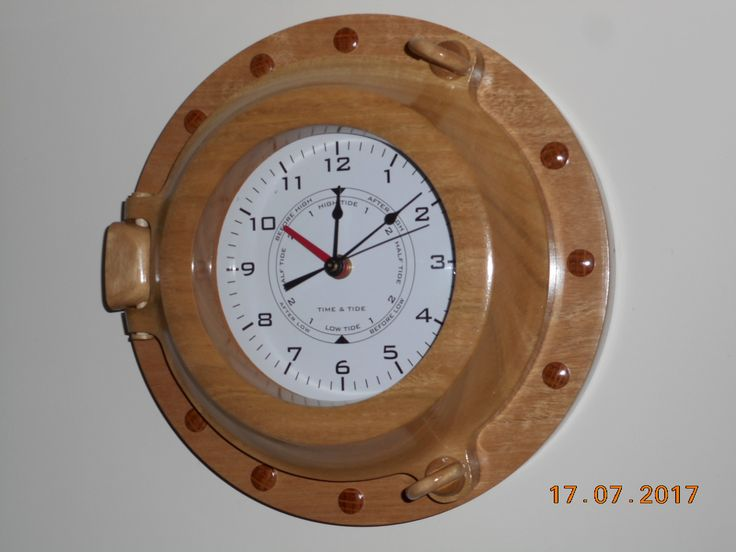 Porthole Clock with time & Tide Sugar Gum Wood