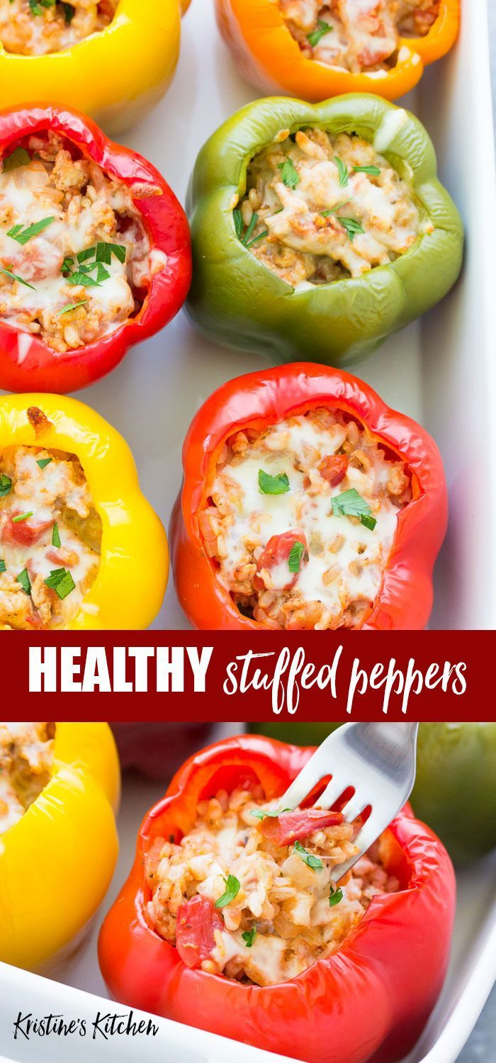 Healthy Italian Stuffed Peppers Recipe With Rice Make Them With Turkey Or Beef These Easy Stuffed Pepp Pepper Recipes Healthy Peppers Recipes Stuffed Peppers