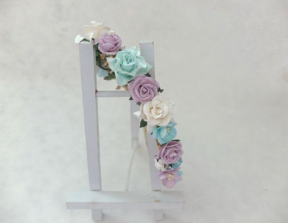 Pastel flowers headpiece - flower headpiece - flower hair crown - flower headband