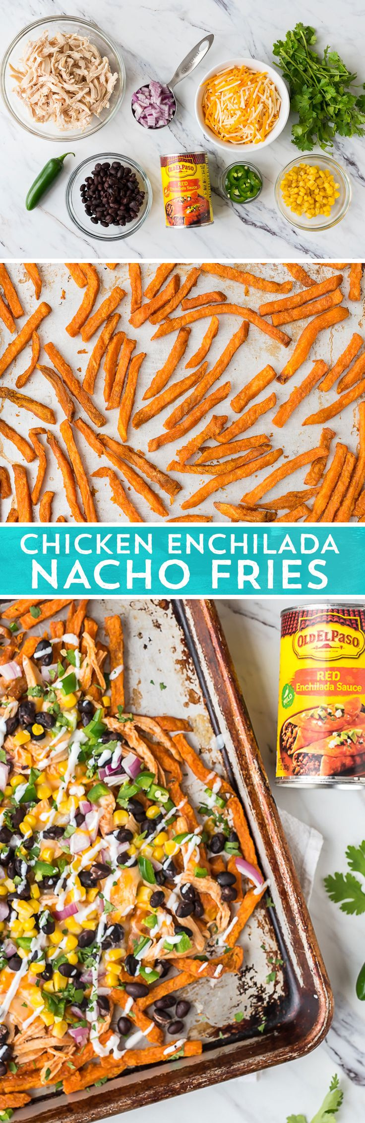 Classic enchilada ingredients and sweet potato fries come together in this easy dish from @wellplated. Baked fries get topped with shredded chicken mixed with Old El Paso™ Red Enchilada Sauce, shredded cheese, black beans, whole kernel corn, diced red onion, and jalapeno pepper before heading back to the oven. Top with sour cream and fresh cilantro. Perfect for a crazy weeknight, hosting a party, or hitting the couch for some TV binging.