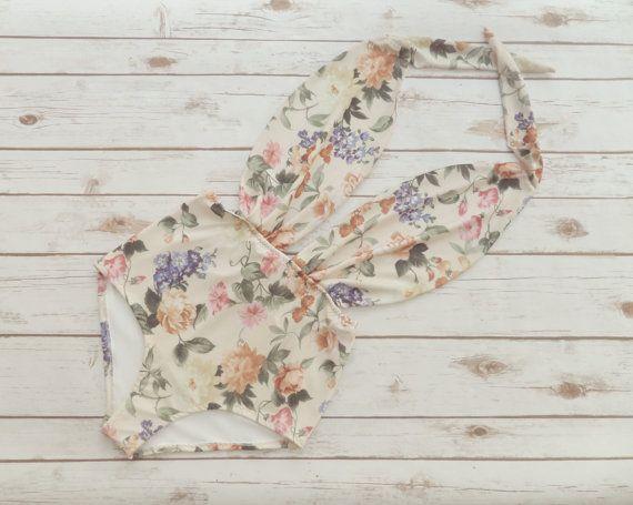 Badpak hoog getailleerde Vintage stijl een stuk Retro Pin-up Maillot - Floral Print Boheemse badpak badmode - unieke mooie & zo schattig!