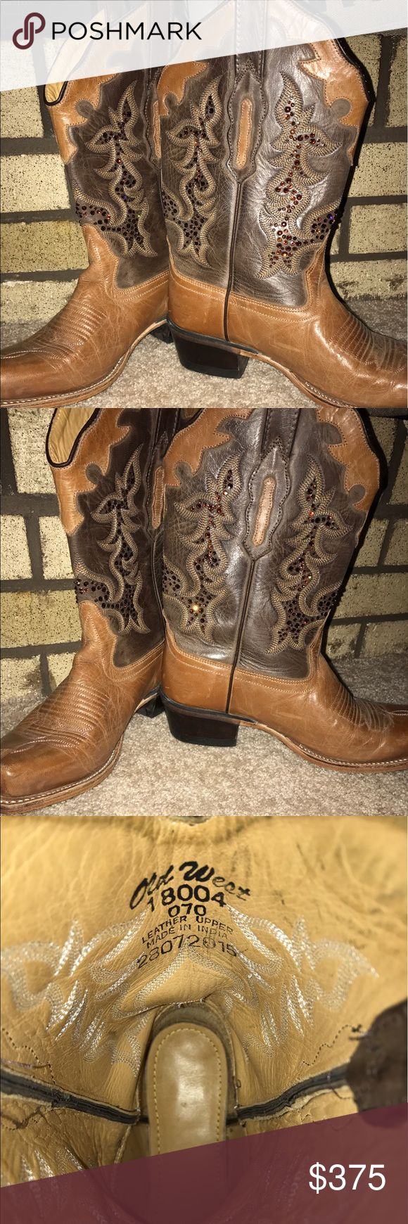 Cowboy boots Old West boots - hand placed Swarovski crystals. Only wore once! Old West Shoes Heeled Boots