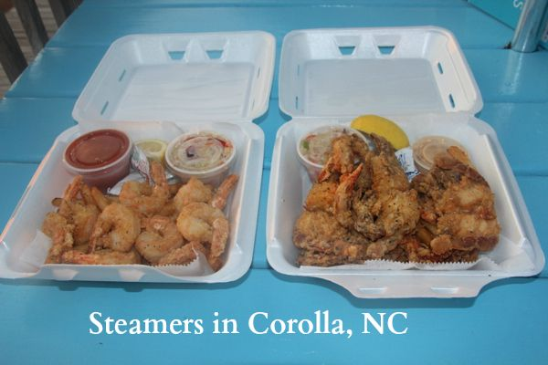 Fried shrimp and fried local (Kitty Hawk!) soft shell crabs from Steamers in Corolla, NC