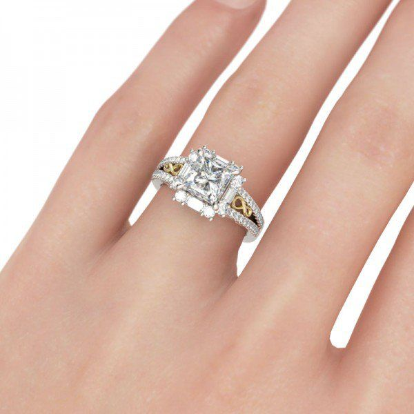 Jeulia Two Tone Halo Princess Cut Created White Sapphire Engagement Ring