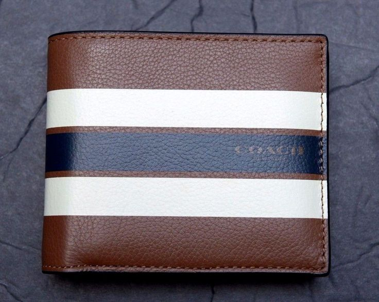 NWT Coach Men's $175 Compact ID DK Saddle Varsity Leather Billfold Wallet F75399