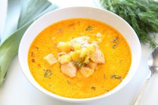 Wild salmon, red palm oil and coconut milk is a magical trio of fat and flavor. These three ingredients transform into incredibly delicious chowder with th