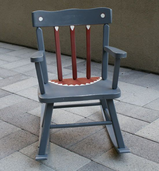 so cute.... a shark rocking chair (using an old well loved rocker)...  This TOTALLY ROCKS!!!!