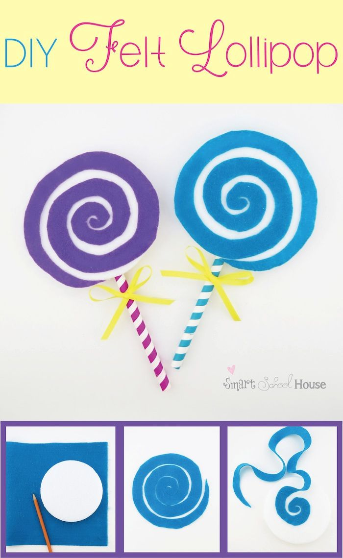 Everyone loves a lollipop! This felt craft is so quick and easy and the lollipop is so sweet (hehe!). These lollipops are a fun party decor prop and they also make a cute kids craft!