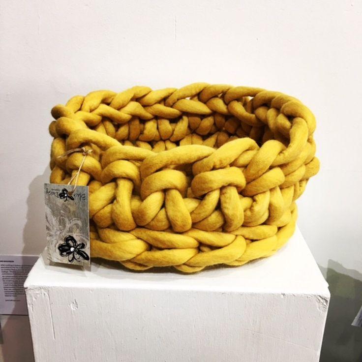 "Hand Crocheted Vessel - ""Turmeric"""