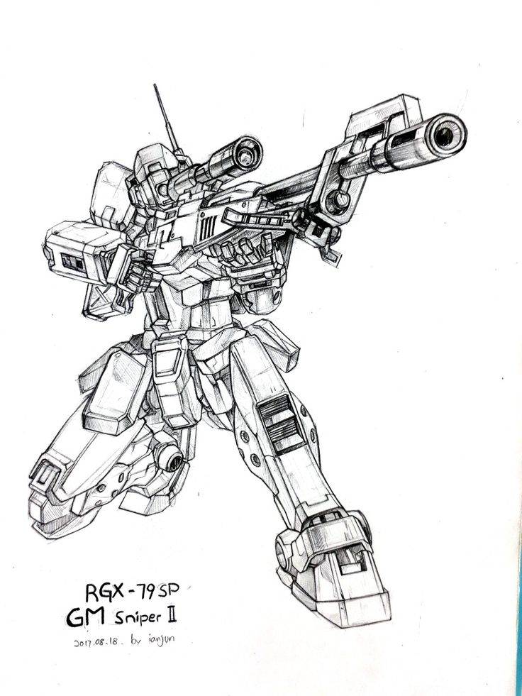 Line Drawings From D Models : Rgx sp gm sniper pencil drawing by ianjun