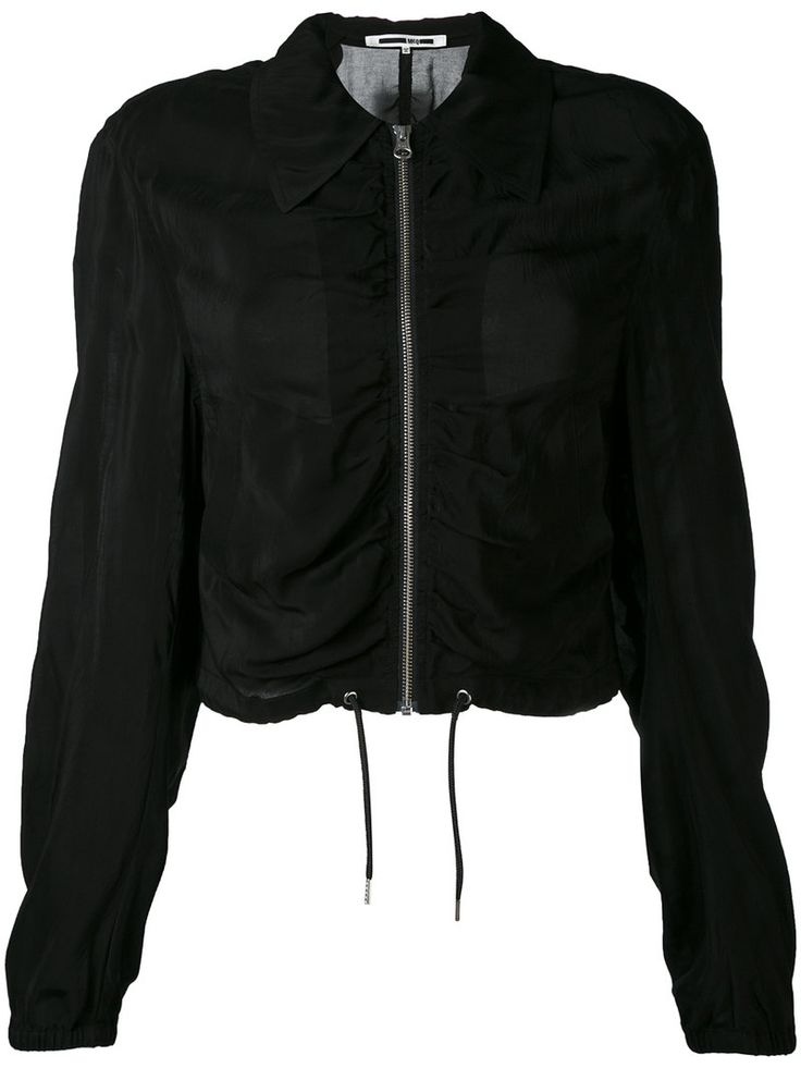¡Cómpralo ya!. Mcq Alexander Mcqueen - Ruched Bomber Jacket - Women - Cupro - 36. Black ruched bomber jacket from McQ Alexander Mcqueen featuring a cutaway collar, a front zip fastening, a drawstring hem and long sleeves. Size: 36. Gender: Female. Material: Cupro. , chaquetabomber, bómber, bombers, bomberjacke, chamarrabomber, vestebomber, giubbottobombber, bomber. Chaqueta bomber  de mujer color negro de MCQ ALEXANDER MCQUEEN.