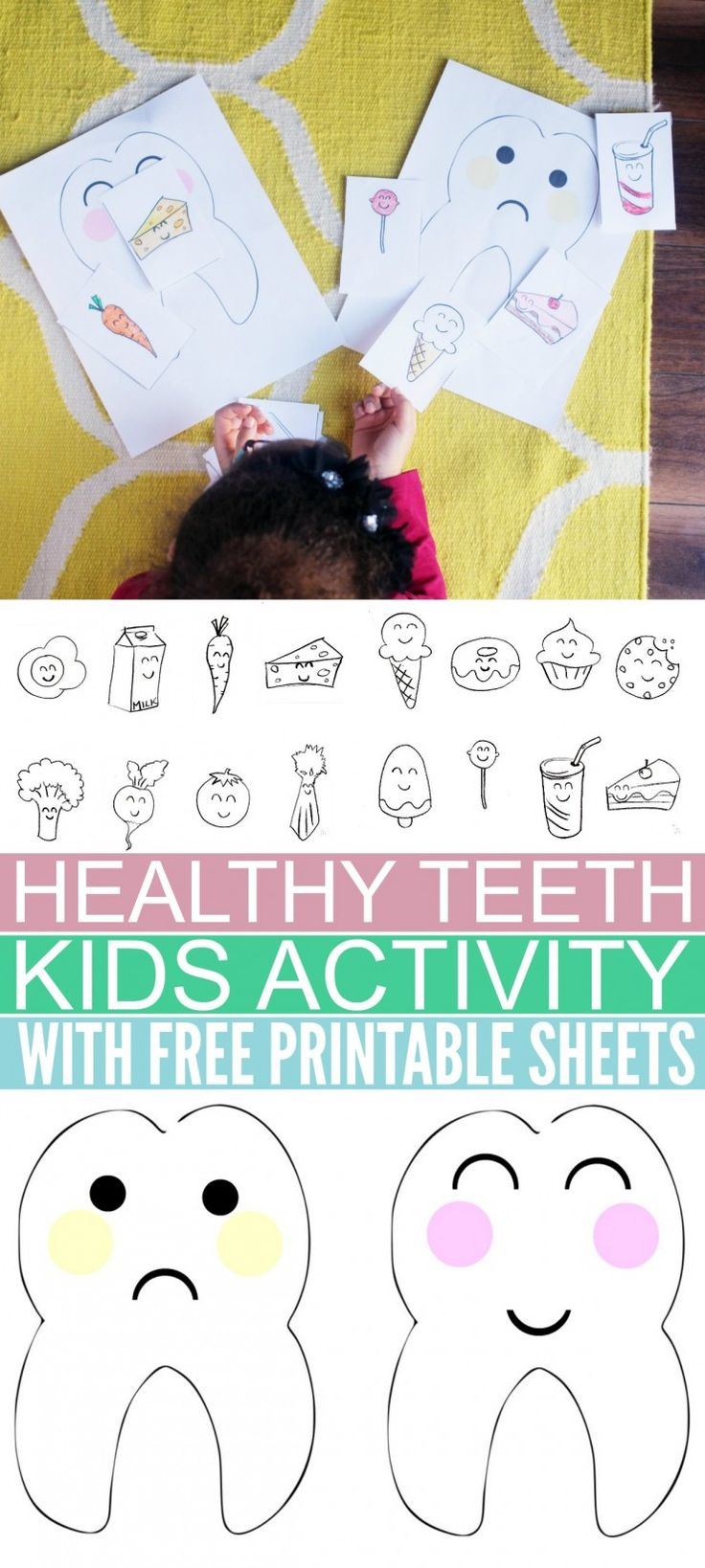 "Teach your kids good Oral Health habits with this fun ""Healthy Teeth"" Kids Activity with free colouring printable sheets."