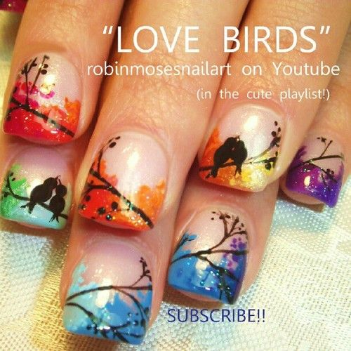 Nail-art by Robin Moses: love birds, wedding marble nails, wedding nails, love